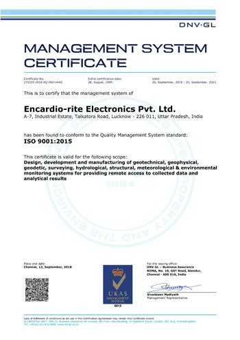 Encardio Rite ISO Certificate