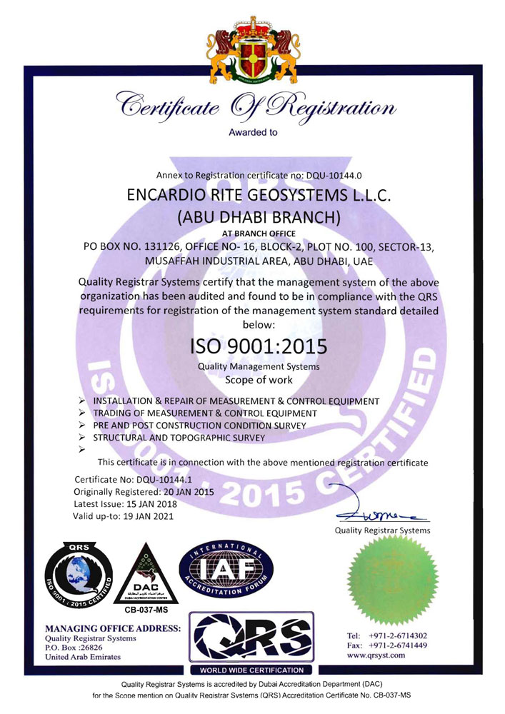 AUH UAE Office ISO Certificate