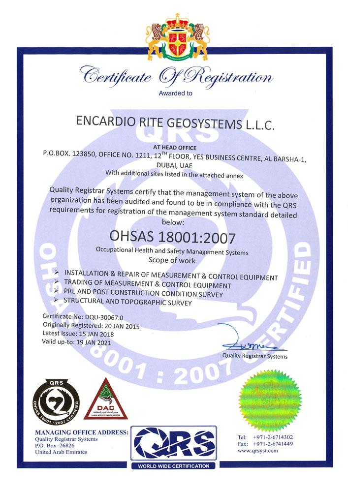 Dubai UAE Office OHSAS Certificate