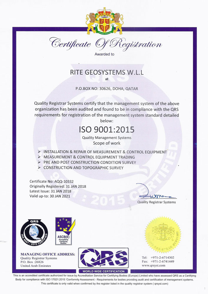 RGS Qatar Office ISO Certificate