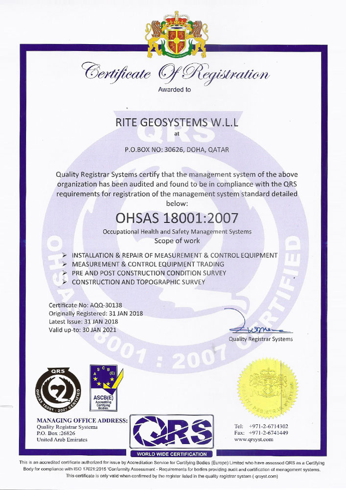 RGS Qatar Office OHSAS Certificate